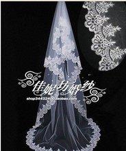 Free shipping :2012 lace Edge 2.8M ivory &white bridal veil(China (Mainland))