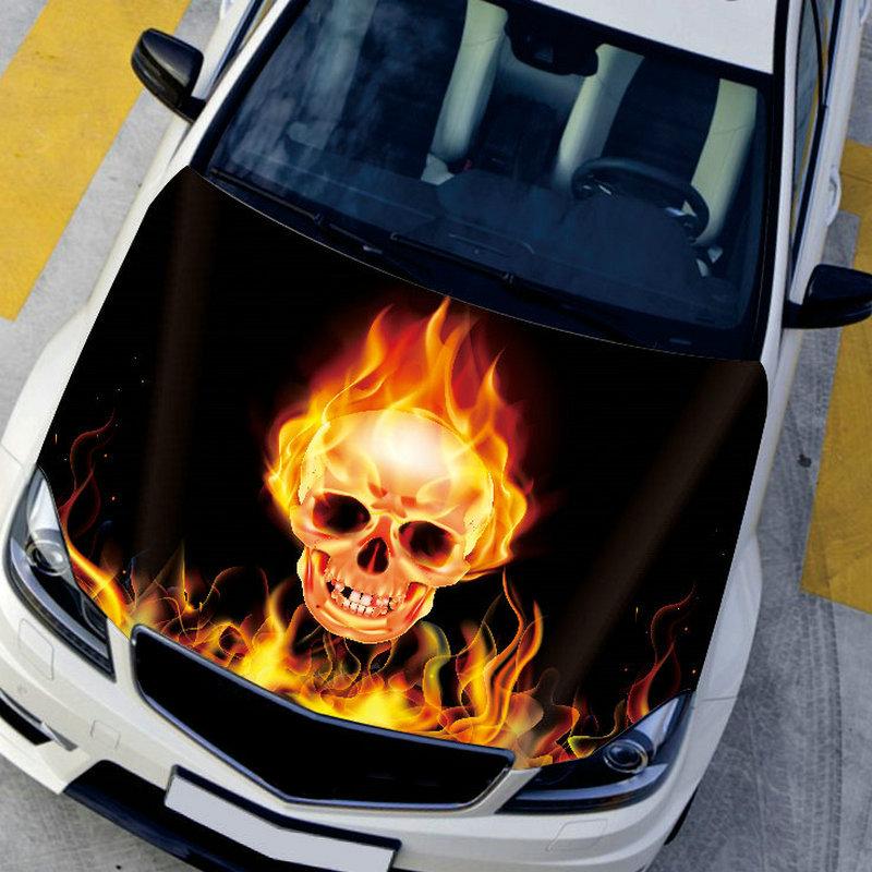 Fiber Vinyl Film 150x200cm Car Engine Hood Cover Fire Skull Auto Wrapping  Sicker Covering Film with 30x35cm Rear Mirror Sticker<br><br>Aliexpress