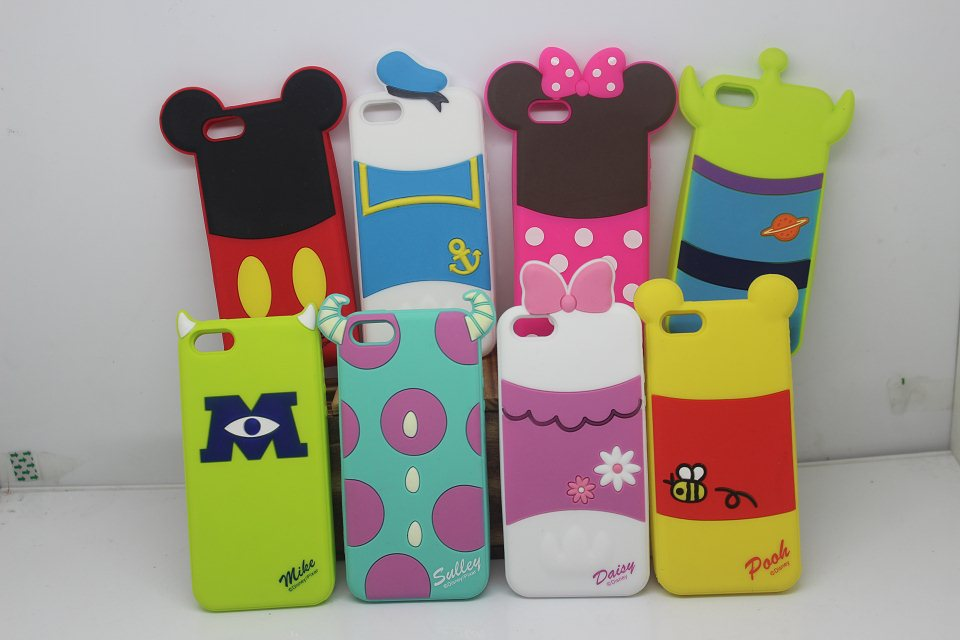 1pcs/lots Newest 3D Cute Cartoon Duck Minnie Mickey Mouse bear Silicone Case For i phone 4 4s/5 5s with OPP bag(China (Mainland))