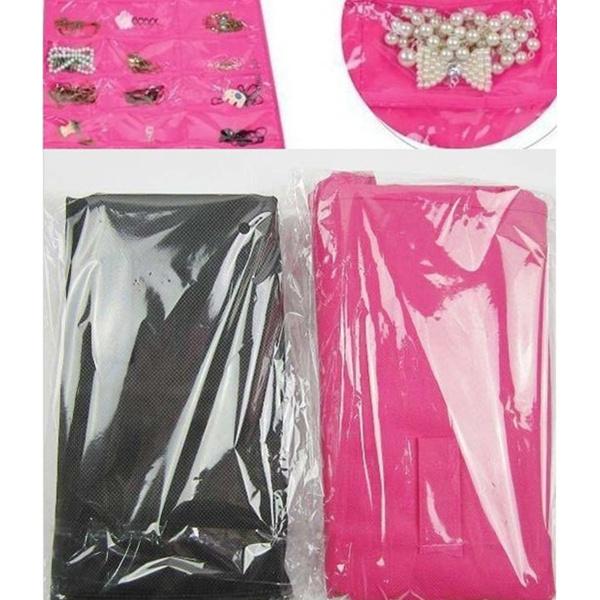 Dress Hanging Jewelry organizer Bag Hooks Jewelry Storage Black and Pink Free Shipping(China (Mainland))