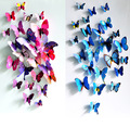 12 Pcs Lot PVC 3D DIY Butterfly Wall Stickers Home Decor Poster for Kitchen Bathroom Fridge