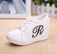 Black White Free Shipping Hidden Wedge Heels Fashion Women's Elevator Shoes Casual Shoes For Women wedge heel Rhinestone 2016(China (Mainland))