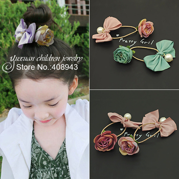Free shipping Girls Children fashion hair Accessories artificial Flowers bow pearl elastic hair bands Tied ponytail headbands!A7