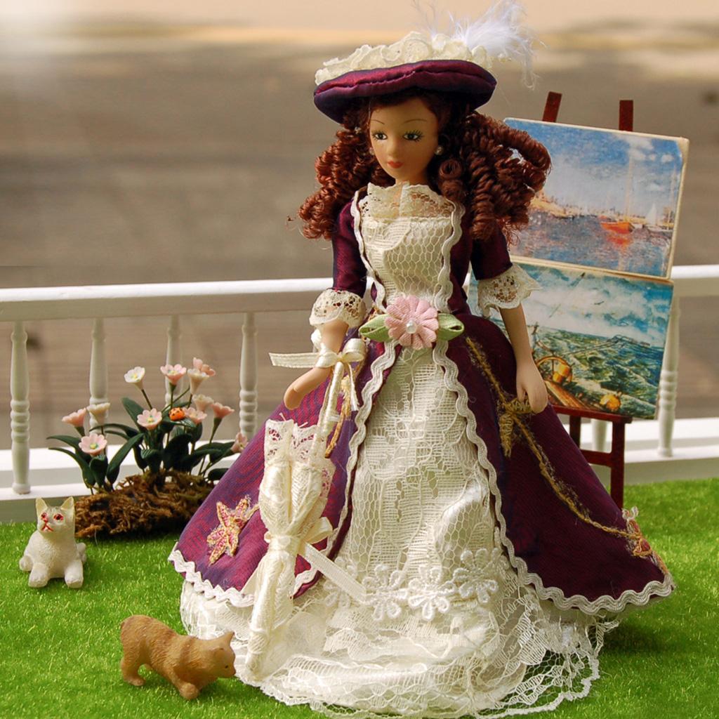 1:12 Dollhouse Miniature Elegant Porcelain Dolls Dollhouse Victorian Lady D$N