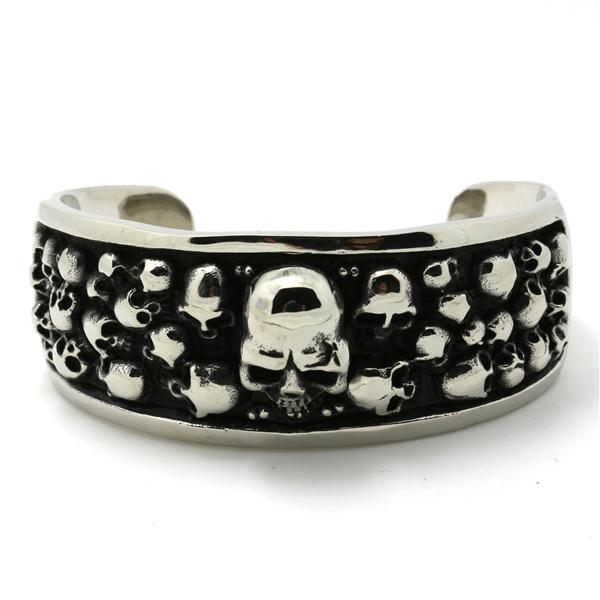 Mens Fashion Jewelry Biker Bracelets Chain 111g Huge&Heavy 316L Stainless Steel Slive Skull Bangles - Rany Store store