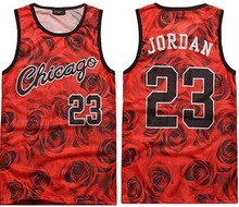 men's summer tank tops 3D print rose floral Chicago Jordan 23 basketball vest fit slim jersey sleeveless tee shirts(China (Mainland))
