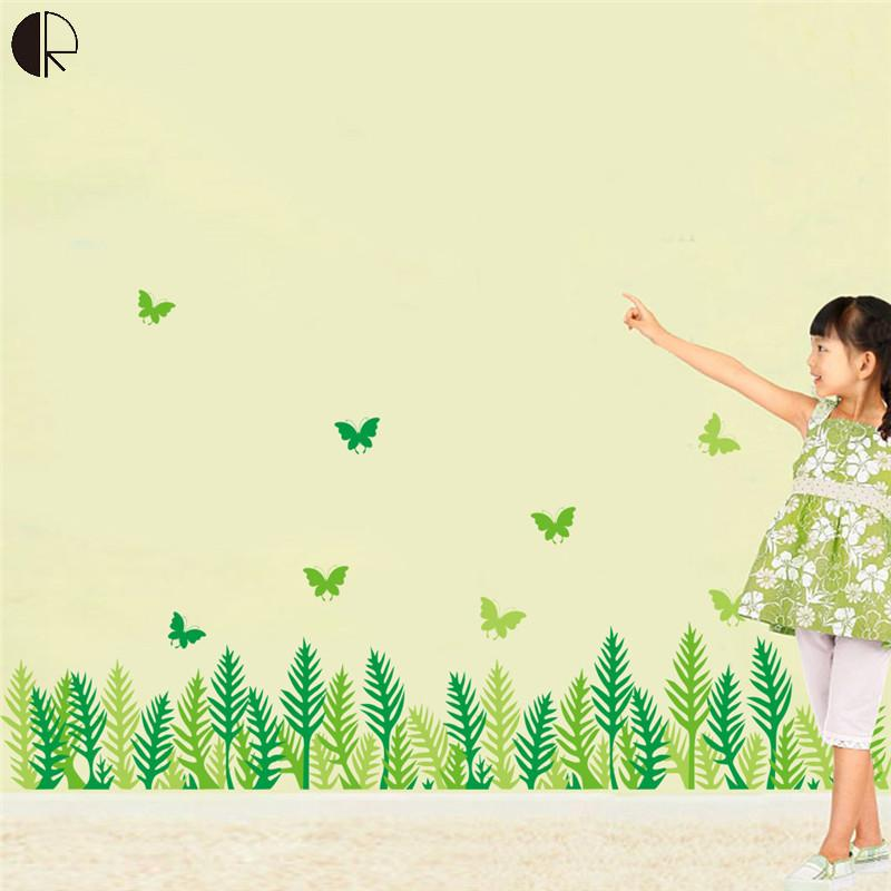 Removable Wall Stickers Green grass butterfly Decal Art Mural Home Decor Wall Sticker Home Decoration HH1248(China (Mainland))