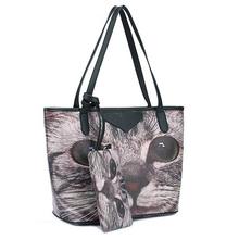 2015 donne borsa di modo delle signore di disegno del gatto delle donne del sacchetto di spalla sacchi di grande capacità con una borsa mochila feminina WXT467(China (Mainland))