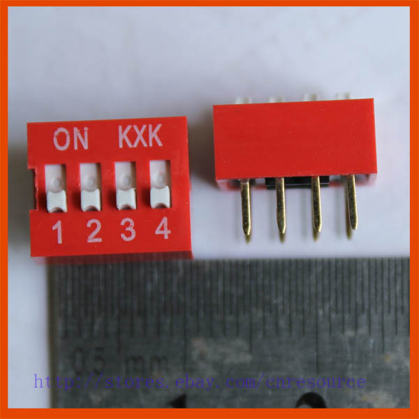 New 5 x 4 Positions DIP Switch Red 4P