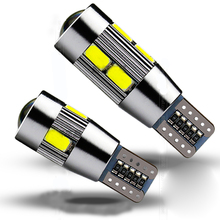 2pcs High Power 5W T10 Car Clearance Lights Plate signal Width Light Xenon White LED CANBUS 10SMD 5730 Cree Lens Projector(China (Mainland))