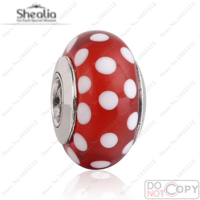 Original 925 Silver 2014 Minnie Signature Look Murano Glass Charm Beads Fit Pandora Bracelets Glass Charms Women Jewelry<br><br>Aliexpress