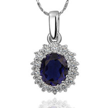 GPN589 Nickle Free 18K Platinum Gold Plated Sapphire Blue Rhinestone Necklaces Wedding Gift Free Shipping(China (Mainland))