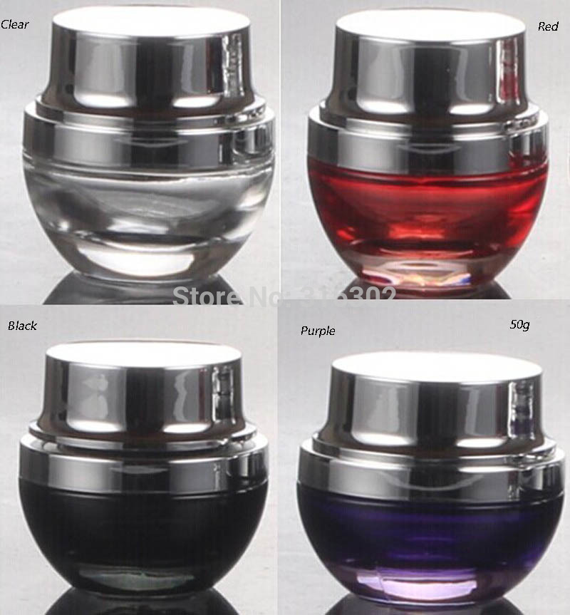3/lot 50ml Glass Cosmetic packaging, 50cc Empty Glass Jar, 50CC Glass Cream Bottle(China (Mainland))