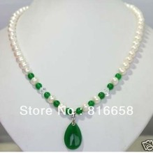 Free shipping@@White Freshwater Pearl & green jade Pendant Necklace 6.09(China (Mainland))