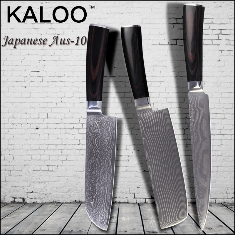 "KALOO damascus knives set 8 inch slicing 7""chopper santoku knife kitchen knives 67 layers Aus-10 stainless steel cooking tools.(China (Mainland))"