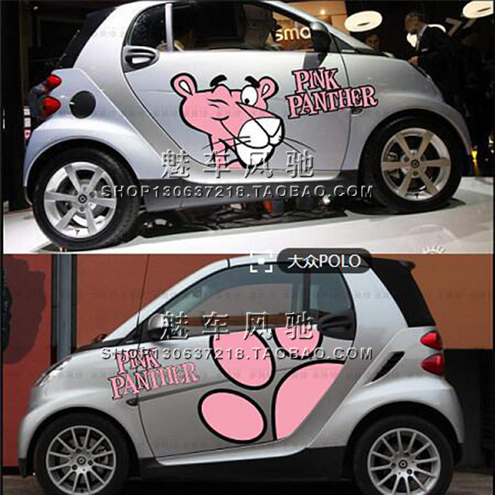 The pink panther smart beetle Mini Polo lovely garland BYD F0 car decoration car vehicle(China (Mainland))