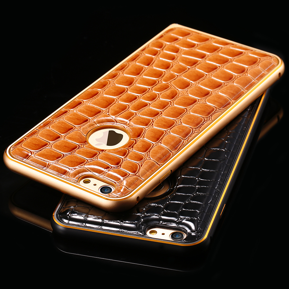 1pcs/lot Retail Luxury Crocodile Leather Case For Apple iPhone 6 4.7 inch Slim Hard Metal Aluminum Phone Back Cover For iPhone 6(China (Mainland))