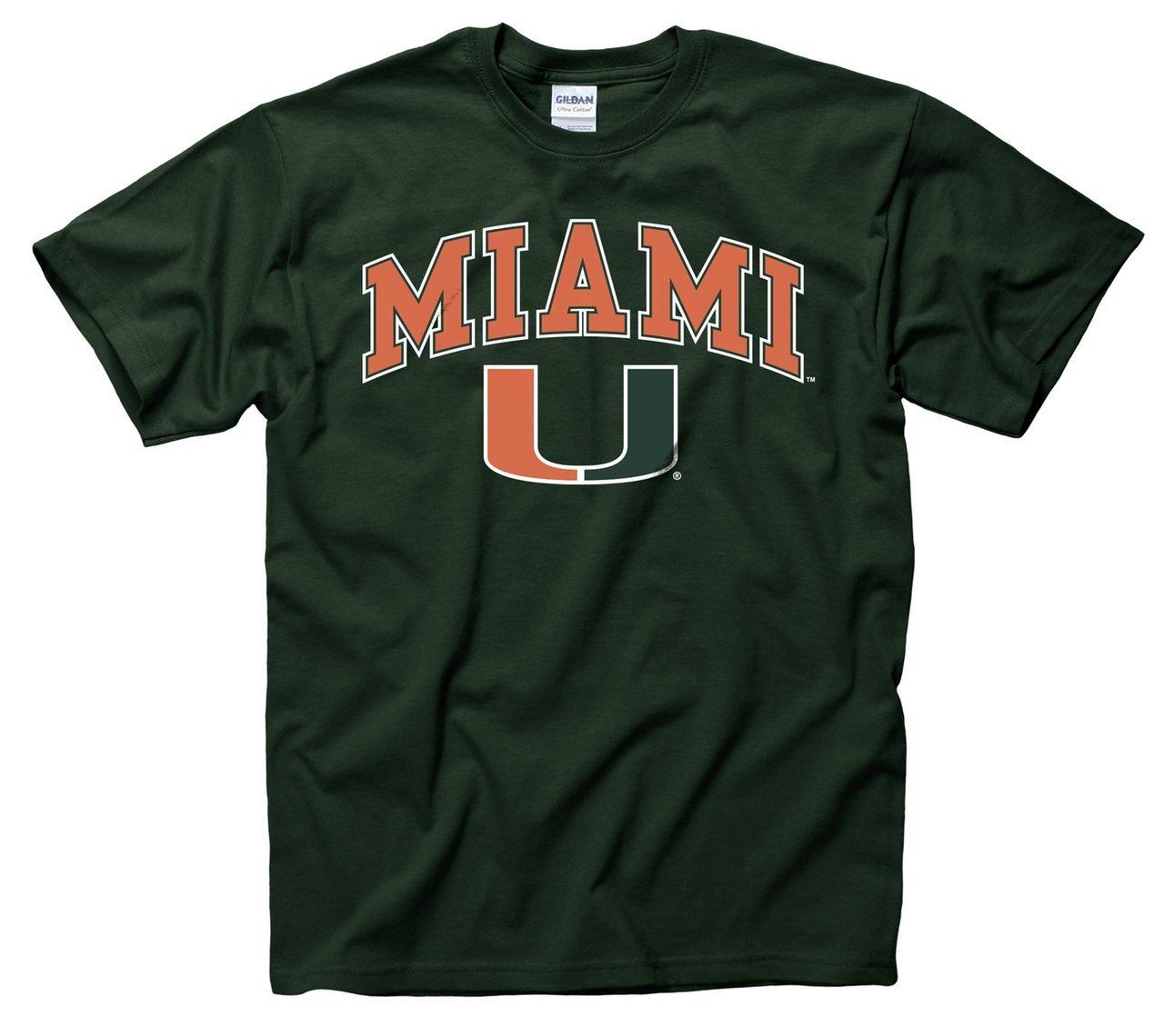 New hot 2017 Men Cotton Tshirts Miami Hurricanes Adult Arch & Logo Gameday T-Shirt - Green Size S-XXXL(China (Mainland))