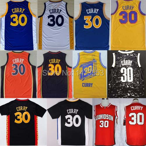 2015 Men Golden State #30 Stephen Curry Jersey, Stitched Stephen Curry Davidson College Jersey Throwback Blue White Black Yellow(China (Mainland))