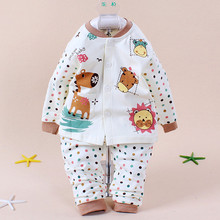 2014 High Quality Autumn Winter Pajamas for 0-1Y Baby Boys Girls Cotton Long Sleeve Cartoon Print Sleepwear for Newborn Infants(China (Mainland))