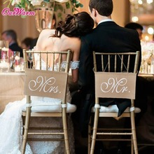 Buy 30x20cm Khaki Mr. & Mrs. Burlap Chair Banner Set Chair Sign Garland Rustic Wedding Party Decoration for $2.57 in AliExpress store