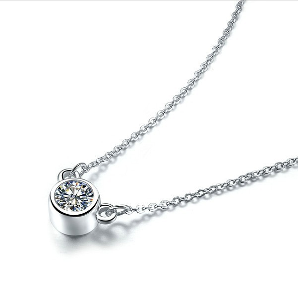 Lovely 925 Silver Chain Necklace Pendant Elegant 1 Carat Synthetic Diamond Jewelry Small Animals Ornaments Gold Plated(China (Mainland))