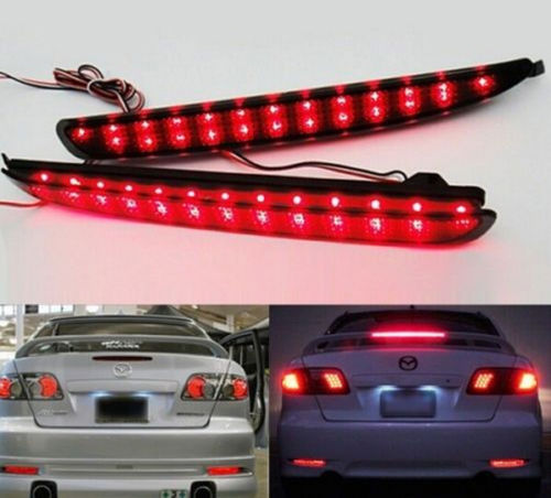 24 LED Rear Bumper Reflector Smoke Lens Tail Brake Light For 03-08 Mazda 6 Said free goods(China (Mainland))