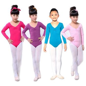 Ребенка девушки с длинным рукавом балет танец платье фитнес гимнастика костюм износ купальник