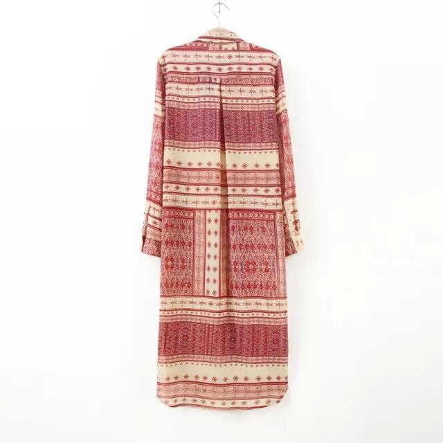 Красный свободного покроя женщины длинная блузка шифон длинный рукав леди в макси boho топы blusa лас-мухерес отложным вниз воротник массимо mujer сорочка
