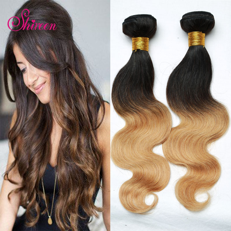Ombre hair Body Wave Brazilian Hair 3 Bundles Ombre Hair Brazilian Virgin Human Hair Extensions no shedding<br><br>Aliexpress