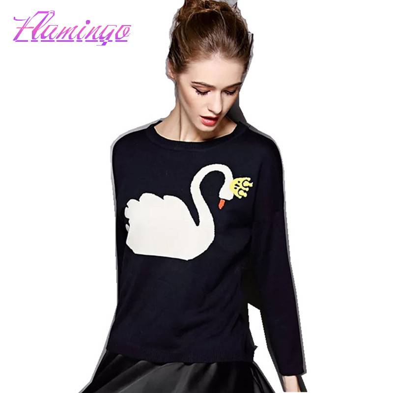 2017 Women Cashmere Sweater Fashion Pullover Long Sleeve Jumper Cotton Knitted Casual Coat Swan Black Jacket Female Tops Sueter(China (Mainland))
