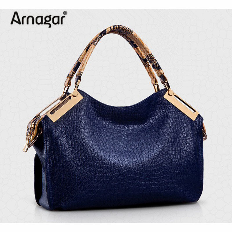 2015 New hot Fashion lady Casual Tote Crocodile Women Messenger Bags, PU Leather lady Women Handbags , High Quality shoulder bag