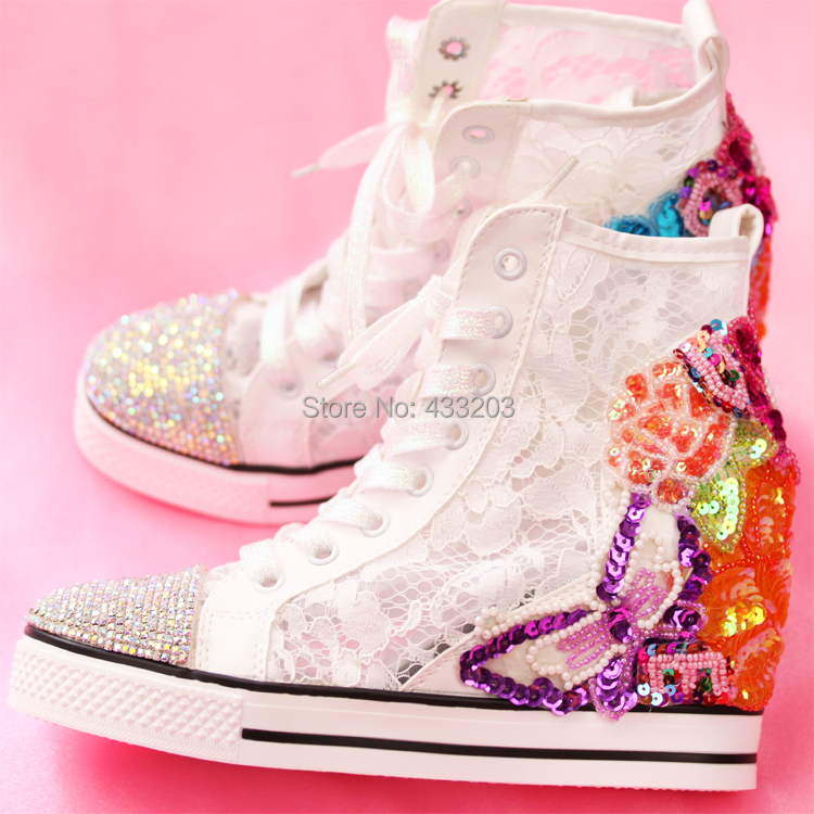 Handmade Sequins Height Increasing Women Shoes Spring 2016 Bling Rhinestones Breathable Lace High Tops Women Casual Shoes<br><br>Aliexpress