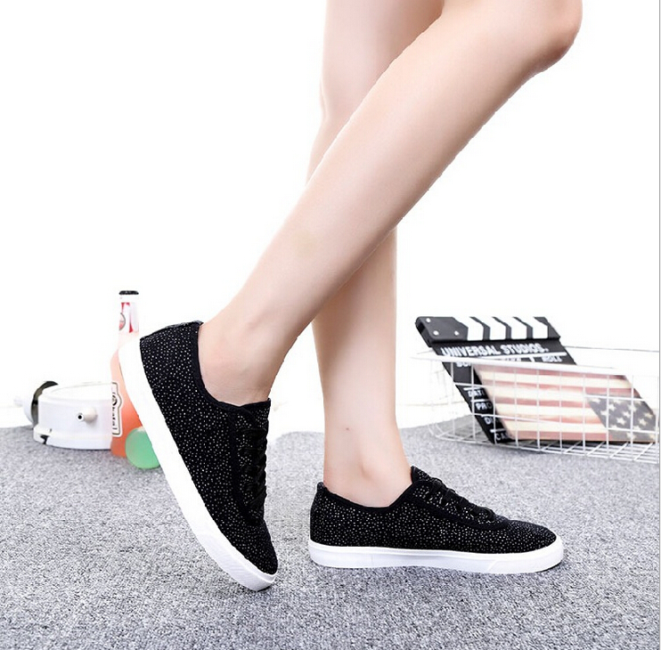 2016 fashion canvas flat women shoes bright diamond lace-up casual shoes<br><br>Aliexpress