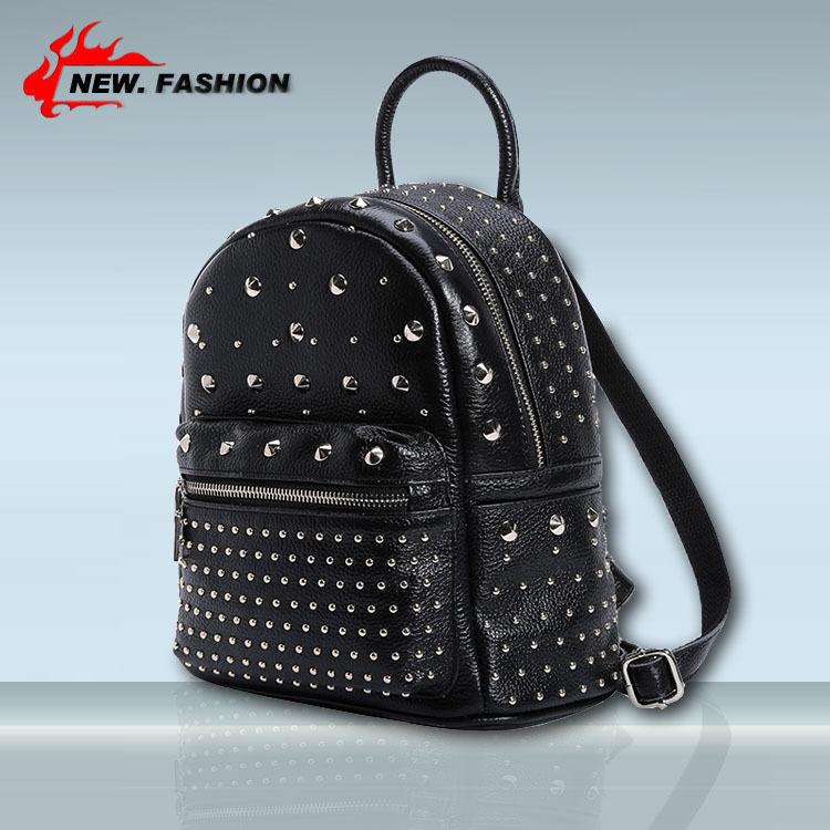 Brand designer women Simple Style backpack rivet Genuine leather Black school bag for girls large capacity shoulder travel bag