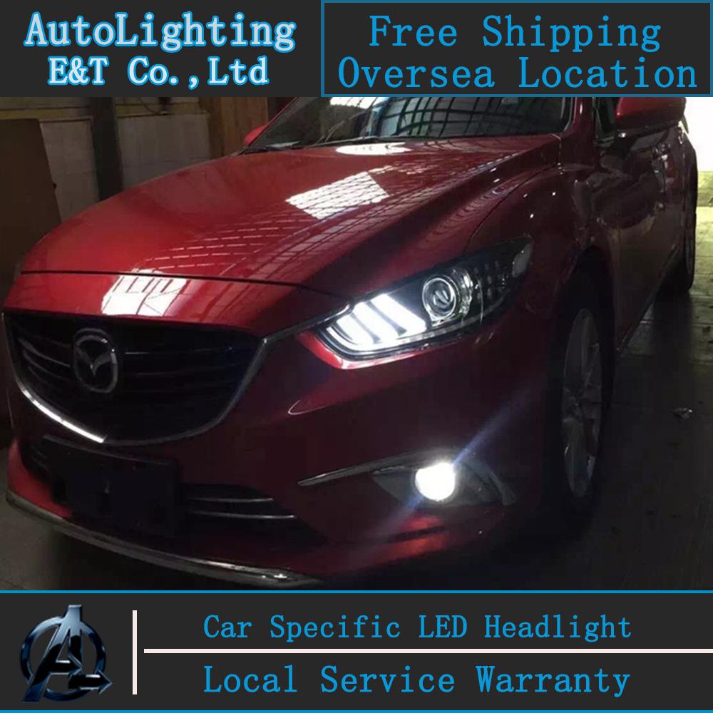 Car Styling For Mazda 6 headlights 2014-2015 Mazda6 led headlight Atenza led drl turn signal drl H7 hid Bi-Xenon Lens low beam(China (Mainland))