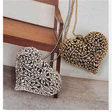 Lackingone necklaces & pendants  2015Fashion Summer jewelry Vintage Hot-selling Hollow Out Peach Heart Alloy Long Chain Necklace(China (Mainland))