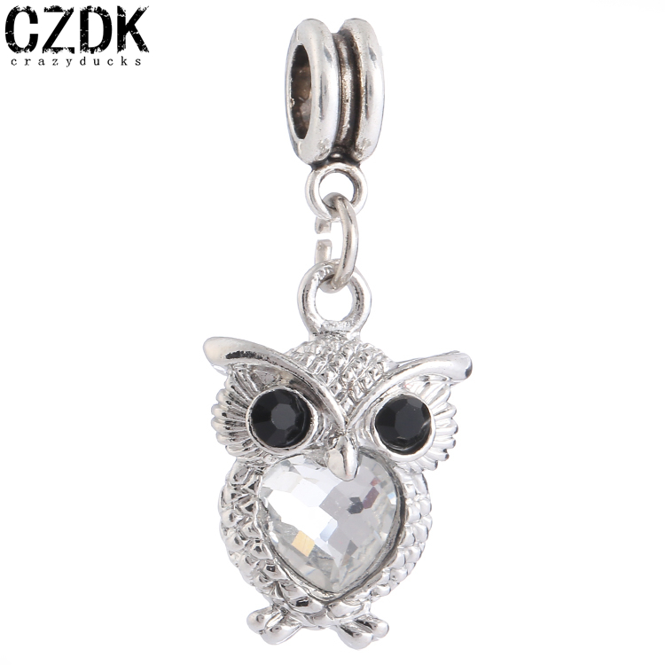 PD61 Fashion Pandent Owl Charm With Crystal Pendants Silver Plated Pendant Crystal Charms Fit EuropeanBracelet(China (Mainland))