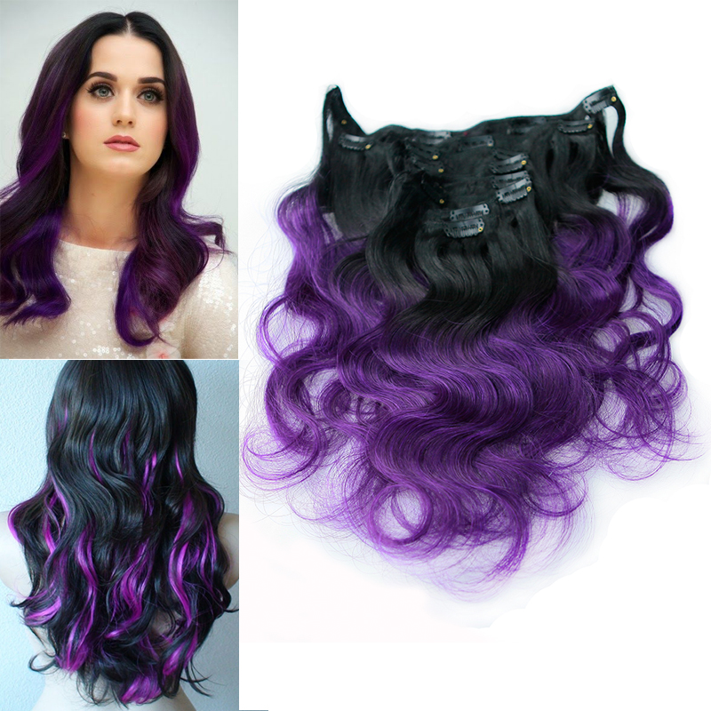 Purple Human Hair Extensions Clip In 96