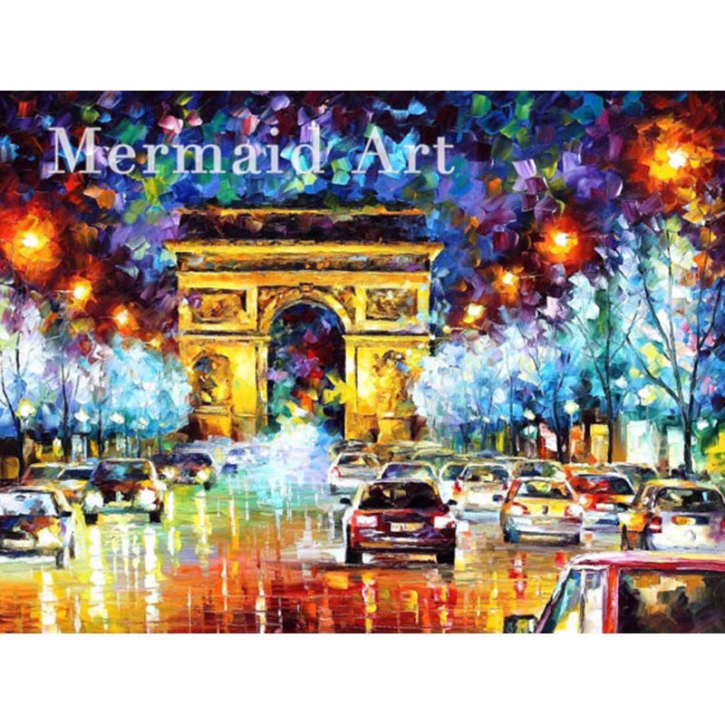 Buy hand painted Palette knife thick Art Triumphal Paris Flight Modern Artwork of Landscape canvens Oil Painting Wall Decoration cheap