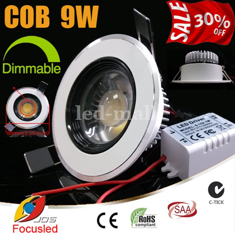 Best Price 30% OFF-Dimmable-3.5 inch 9W 900LM COB LED Downlights Convex Lens Fixture Recessed Ceiling Down Lights+Power Supply(China (Mainland))