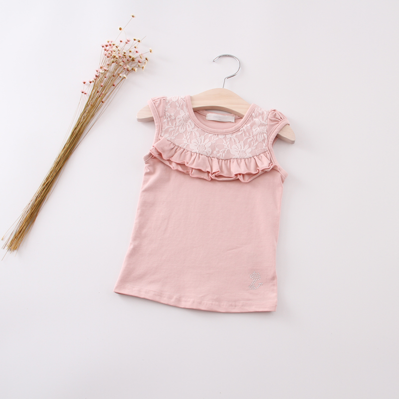 New 2016 summer girls baby cotton sleeveless T-shirt infant children kids cute fashion lace vest tops shirts()