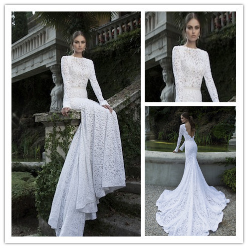 Long Sleeve Lace Wedding Dress With Open Back Open Back Long Sleeve Lace