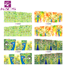 HOTSALE C252 255 Beauty peacock nail art stickers decal for women water transfer nail sticker decorations