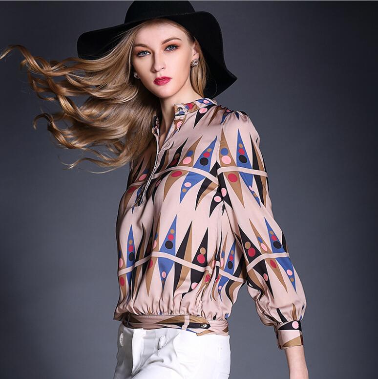 Summer Style 2015 High Grade Silk Blouse Long Sleeve Stand Neck Women Fashion Tops Print Elegant Chemise blusa feminina AE08Одежда и ак�е��уары<br><br><br>Aliexpress
