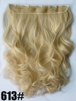 """22"""" 100G Silky Wavy Remy Blended hair clip in hair extensions ,blonde #613, 5 clips a set ,free shipping"""
