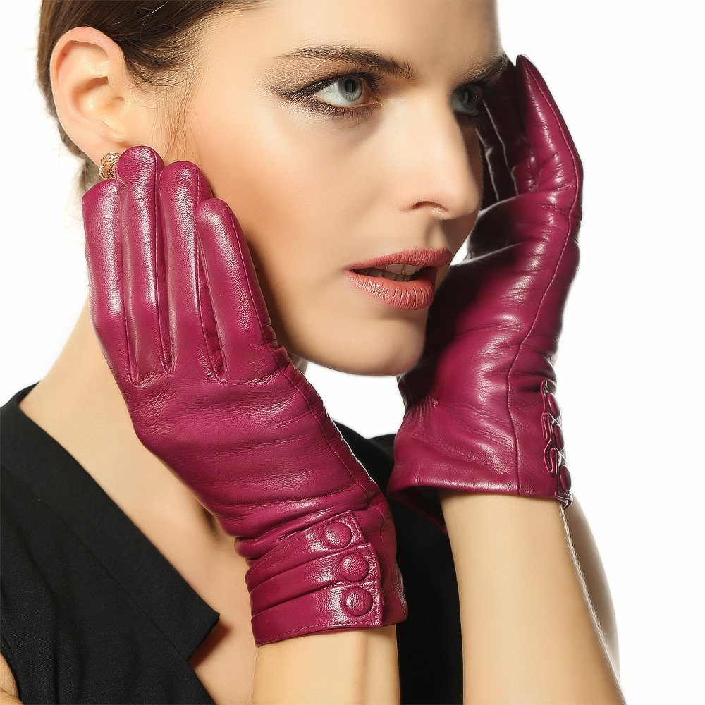 2016 New Women Genuine Leather Gloves Thermal Thicken Lambskin Glove Winter Wrist Goatskin Touch Screen Free Shipping L003nr1(China (Mainland))