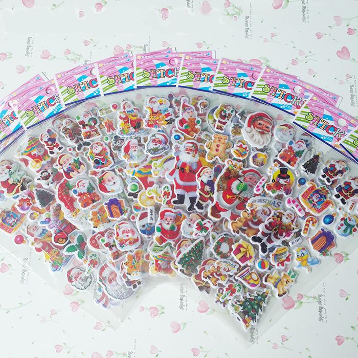 20PCS/LOT Christmas Stickers Santa Claus Puffy Cartoon Bubble PVC Sticker(China (Mainland))