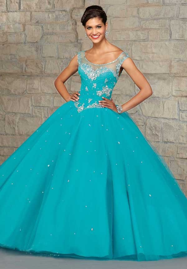 Quinceanera Dresses Ball Gowns 2015 Button Scoop Neck Tank Sleeveless Floor Length Organza Custom Dress - glamorous lady2015 store