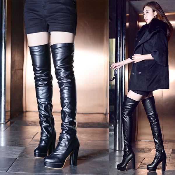 2014 new fashion high heel slim thigh boots